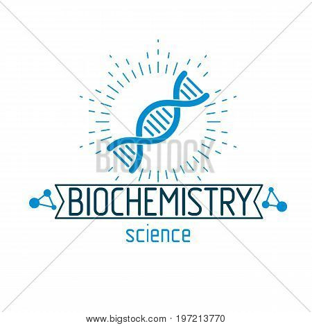 Vector model of human DNA strands. Biochemistry research conceptual abstract logotype can be used as the emblem of scientific organizations.