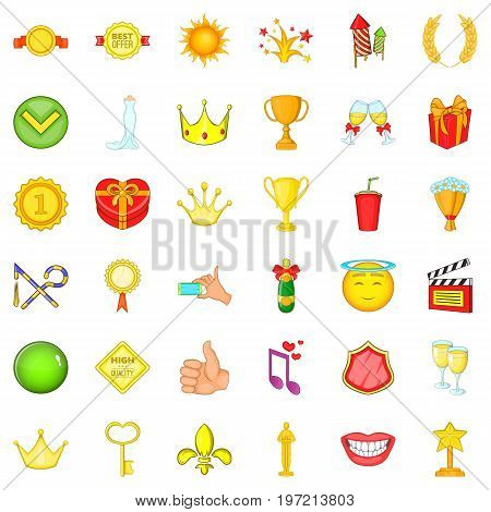 Achievement icons set. Cartoon style of 36 achievement vector icons for web isolated on white background
