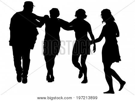 Men and women are dancing Irish dances on a white background