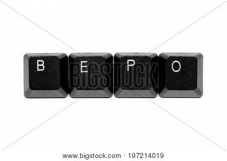 black bepo keyboard keys on white background