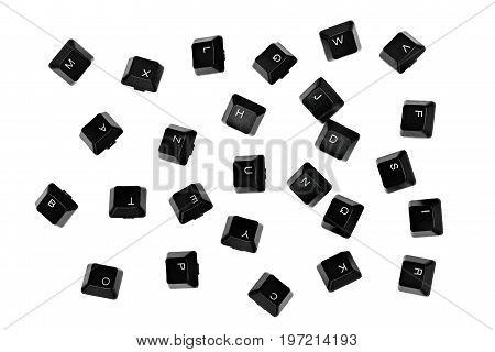 scattered falling black keyboard keys on white background
