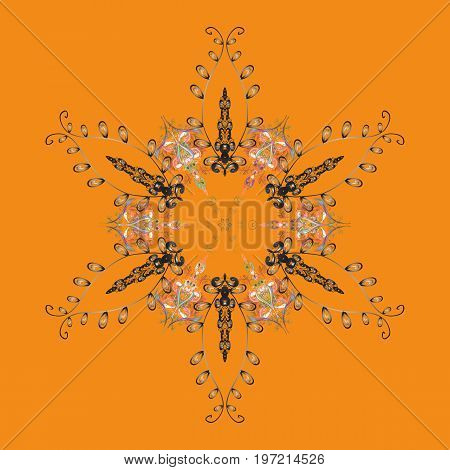 Template for cover poster t-shirt or tattoo. Vector illustration. Winter coloring pages for adult art therapy. Hand drawn antistress snowflake.