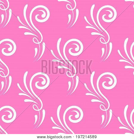 Curl wedding seamless pattern pink background vector royal, fashion, invitation, cloth, paper, wallpaper, luxury, tissue, seamless, old, textile, style, template, holiday, cartoon, leaf