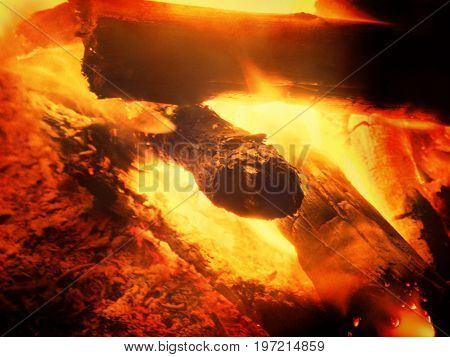 Film Effect. Wood Exploded In Fire, Texture Fire Bonfire Embers