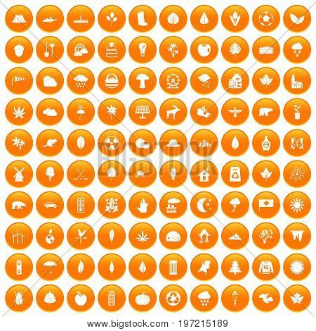 100 leaf icons set in orange circle isolated on white vector illustration