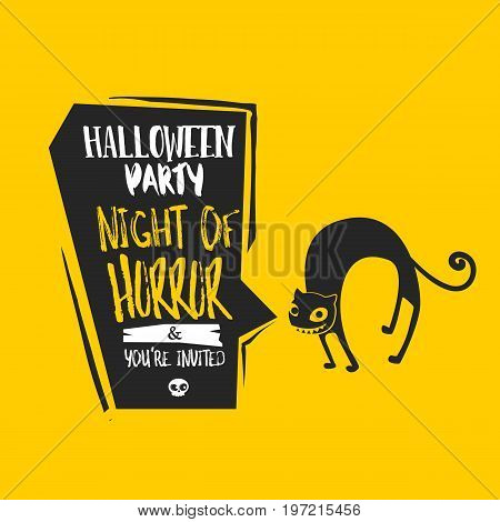 Halloween undomestic cat vector illustration. Happy Halloween invitation to Halloween party. Cloud frame yellow background. Sketch flayer design.