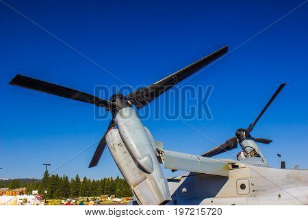 Large Airplane Propellers Tilted Toward The Sky