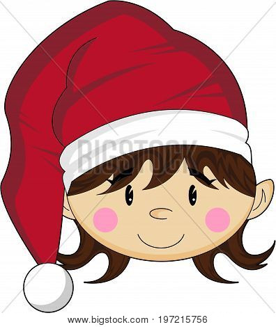 Cute Cartoon Christmas Elf in Santa Hat