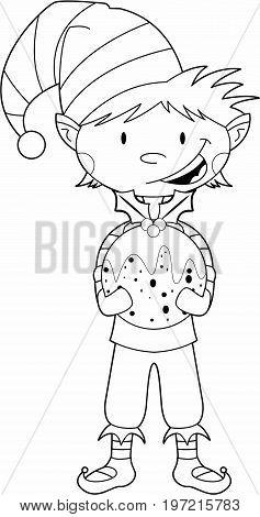Cute Cartoon Elf Holding a Christmas Pudding
