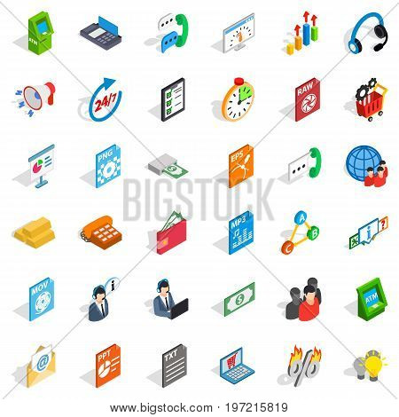 Business analytics icons set. Isometric style of 36 business analytics vector icons for web isolated on white background