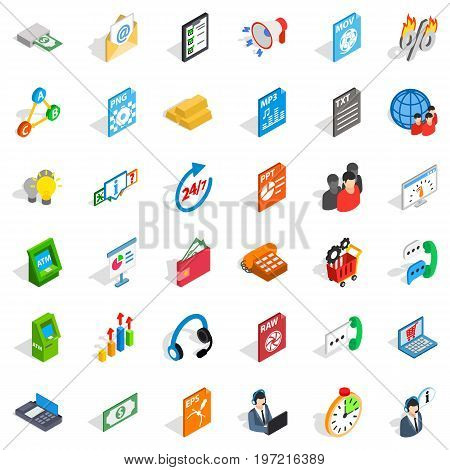 Business statistics icons set. Isometric style of 36 business statistics vector icons for web isolated on white background