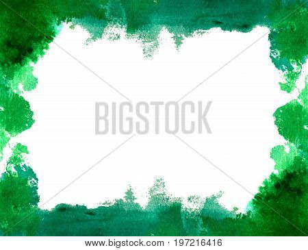 Background with beautiful watercolor blot. Isolated on white background hand drawn watercolor blot for postcard banner business card and other.