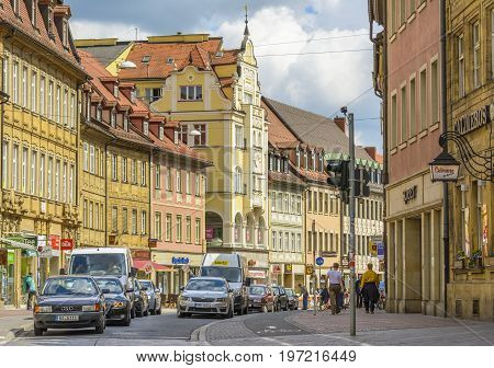Bamberg old town street on April 26 2015 in Bamberg Germany