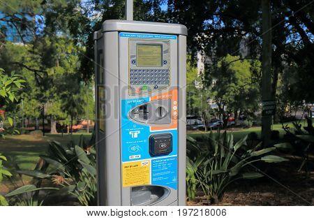 BRISBANE AUSTRALIA - JULY 9, 2017: Car parking meter in downtown Brisbane.