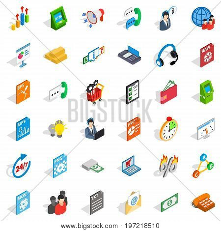 Business plan icons set. Isometric style of 36 business plan vector icons for web isolated on white background