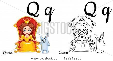 Vector alphabet letter Q for children education with funny cartoon queen and bunny. Isolated. Learn to read. Coloring page.