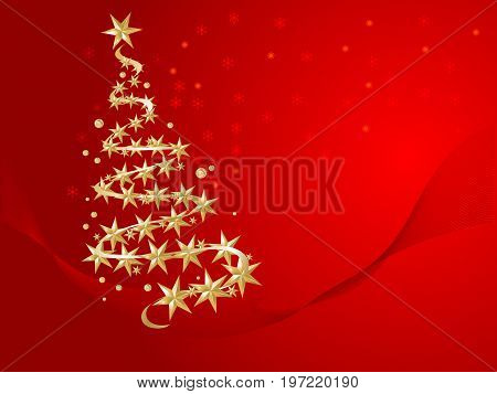 Red abstract background with gold christmas tree