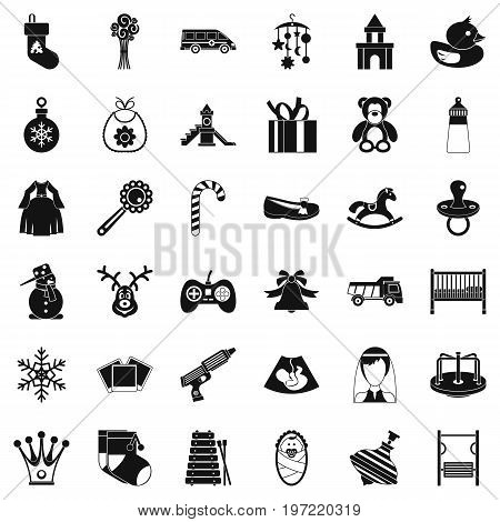 Baby thing icons set. Simple style of 36 baby thing vector icons for web isolated on white background