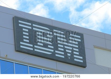 BRISBANE AUSTRALIA - JULY 9, 2017: IBM building . IBM is an American multinational technology and cumulating corporation headquartered in New York.