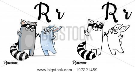 Vector alphabet letter R for children education with funny cartoon racoon and bunny. Isolated. Learn to read. Coloring page.