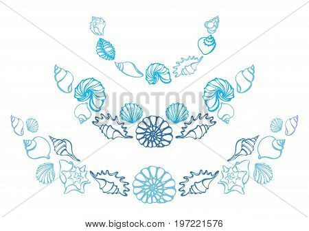 Set of silhouettes of sea shells on white background. Starfish shell conch spiral. Vector. Template with arcs for greeting card sea shops restaurants hotels