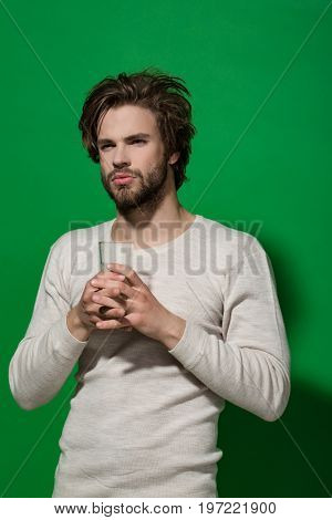 Guy Hold Water Glass