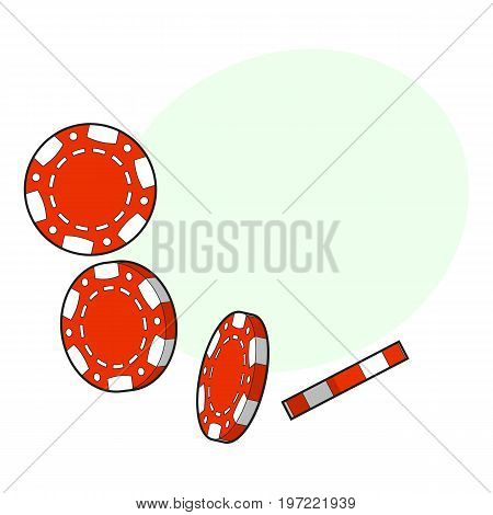 Set of falling red gambling, casino, poker chips, sketch style vector illustration with space for text. Gambling chips falling down on white background