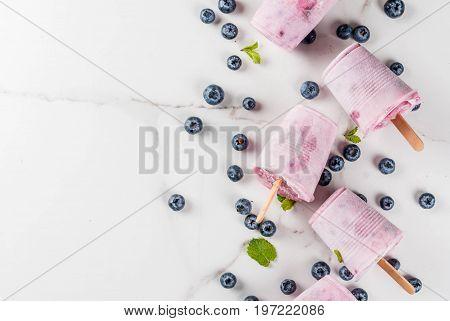 Blueberry Ice Cream Popsicles