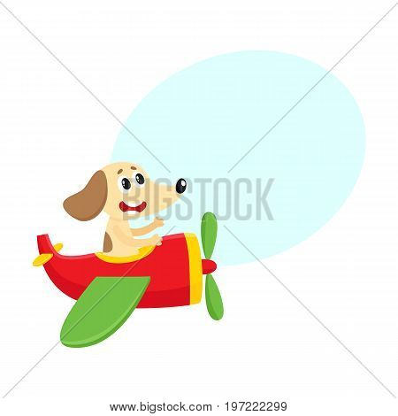 Cute funny dog, puppy pilot character flying on airplane, cartoon vector illustration with space for text. Little baby dog, puppy pilot, animal character flying in open airplane