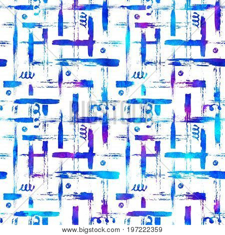 seamless pattern brush stripes plaid. Blue color on white background. Hand painted grange texture. Ink geometric elements. Fashion modern style. Endless fantasy plaid fabric print Watercolor.