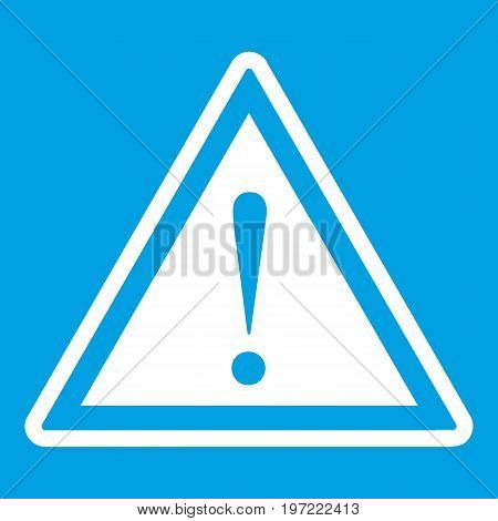 Hazard warning attention sign with exclamation mark icon white isolated on blue background vector illustration
