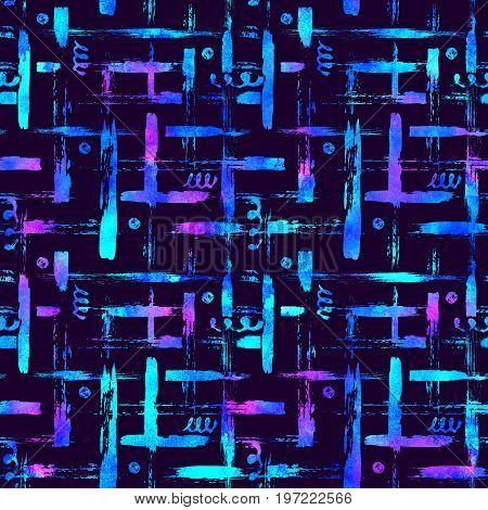 seamless pattern brush stripes plaid. Blue color on violet background. Hand painted grange texture. Ink geometric elements. Fashion modern style. Endless fantasy plaid fabric print Watercolor.