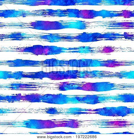 seamless pattern with brush stripes and strokes. Blue color on white background. Hand painted grange texture. Ink geometric elements. Fashion modern style. Endless fabric print. Retro.