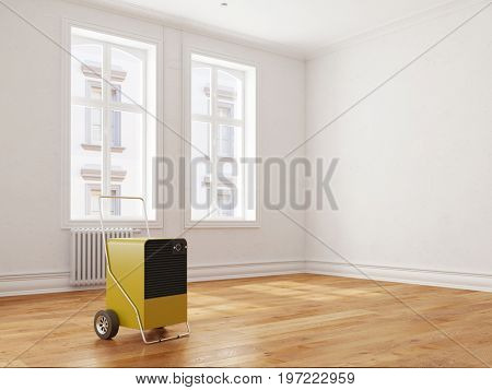 Dehumidifier rent for room water damage at house or apartment (3D Rendering)