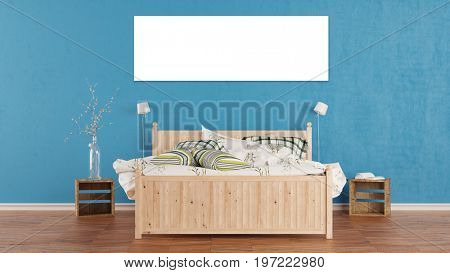 Panorama blank canvas ober bed in bedroom at hotel or house (3D Rendering)