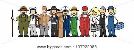 Employment agency or job center ad with group of many professions