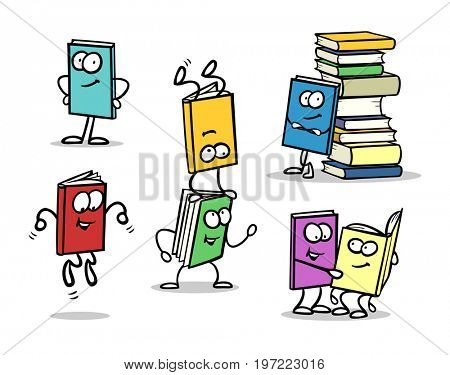 Icon set of many books as funny cartoon characters