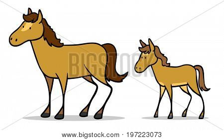 Cartoon of horse with its foal as a family