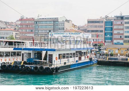Istanbul, June 15, 2017: Passenger ferry in the port in Stabul, Turkey. Transportation of passengers by sea. Tourism