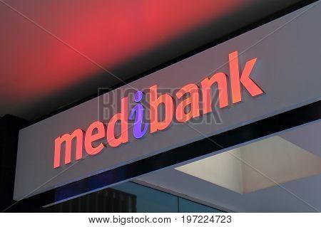 BRISBANE AUSTRALIA - JULY 9, 2017:  Medibank Australia. Medibank is Australia's largest health insurance provider with 3.6 million members, 30% of the market.