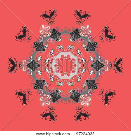 Different snowflake collection vector winter elements on a colorful background. Vector christmas abstract colorful background with cute snowflake.