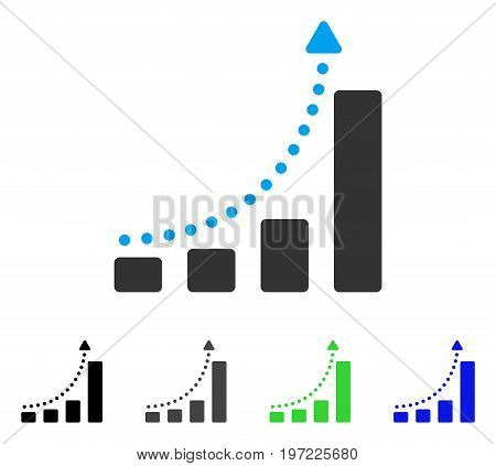 Bar Chart Trend flat vector illustration. Colored bar chart trend gray, black, blue, green icon variants. Flat icon style for application design.