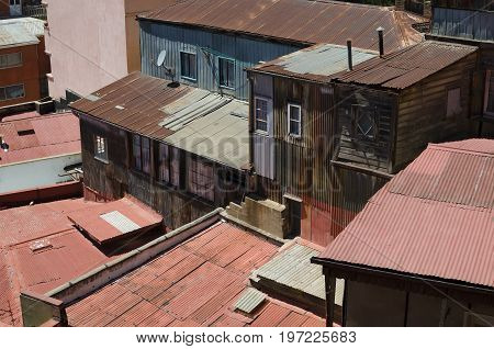 View from above to old rustic houses of Valparaiso