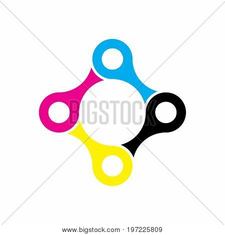 Four pieces of bicycle chain. Team cooperation and connection theme. Vector illustration in CMYK colors.