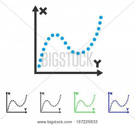 Dotted Plot flat vector illustration. Colored dotted plot gray, black, blue, green icon variants. Flat icon style for graphic design.