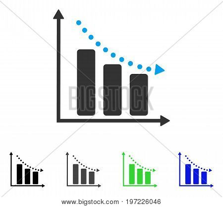 Negative Trend flat vector icon. Colored negative trend gray, black, blue, green pictogram variants. Flat icon style for web design.