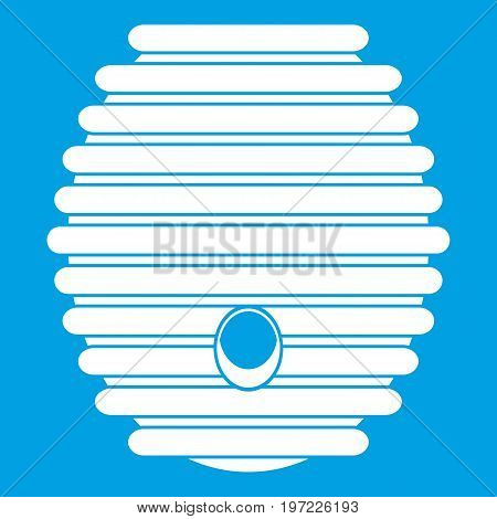 Beehive icon white isolated on blue background vector illustration