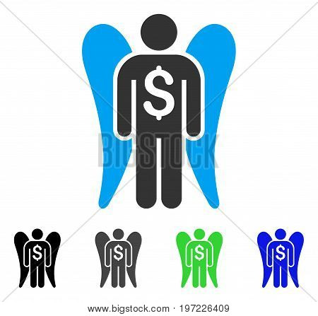 Angel Investor flat vector pictogram. Colored angel investor gray, black, blue, green icon variants. Flat icon style for application design.