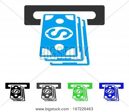 ATM Cashout flat vector pictogram. Colored atm cashout gray, black, blue, green pictogram versions. Flat icon style for application design.