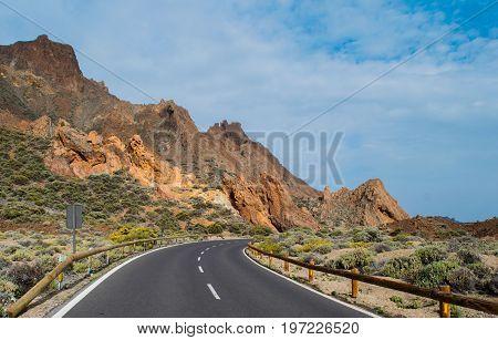 Road to volcano Teide at Tenerife island, Spain